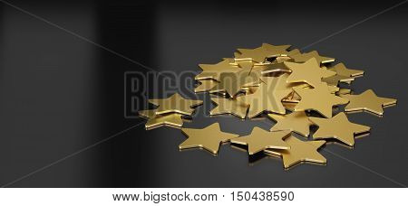 3D illustration of many golden stars over black background horizontal image suitable for header