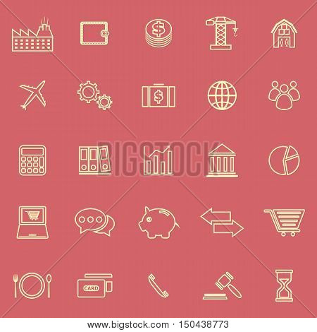 Economy line color icons on red background, stock vector