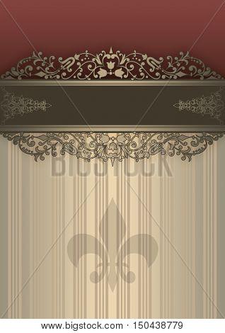Ornate vintage background with decorative borderold-fashioned patterns and fleur de lis symbol.