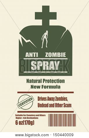 Illustration of anti zombies spray label. Anti zombie spray text on tomb. Zombie silhouette