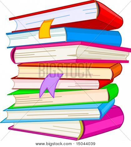 Pile book illustration, isolated on white background