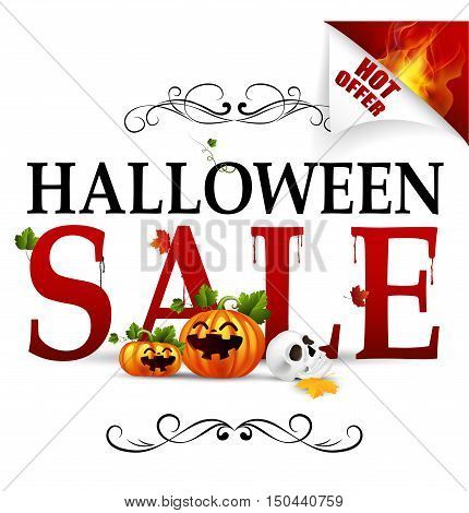 Vector illustration of Halloween sale hot offer