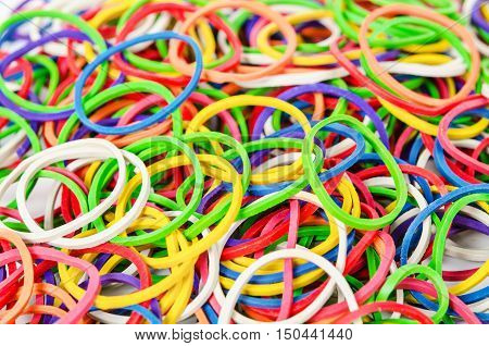 The Elastic band colorful on white background.