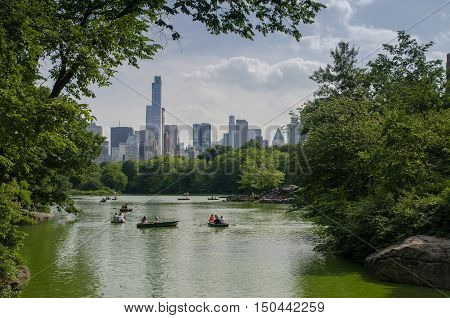 View On New York City Manhattan From Bridge In Central Park