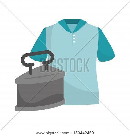 blue man tshirt and metal iron. colorful design. vector illustration
