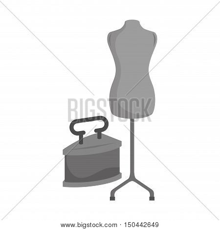retro metal iron with torso mannequin icon. vector illustration