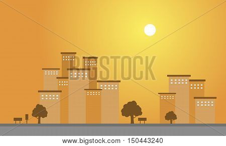 At sunset scenery building of silhouette vector illustration