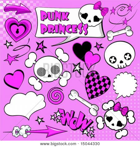 Set of comic elements ?Punk princess? for your design