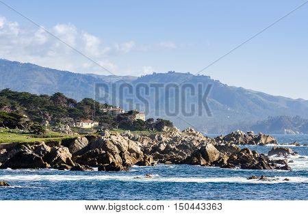 Coastline Along The 17 Mile Drive In Pebble Beach Of  Monterey Peninsula. California. Large Waves Co