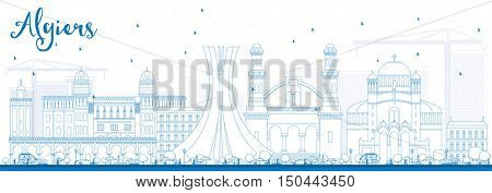 Outline Algiers Skyline with Blue Buildings. Business Travel and Tourism Concept with Historic Buildings. Image for Presentation Banner Placard and Web Site.