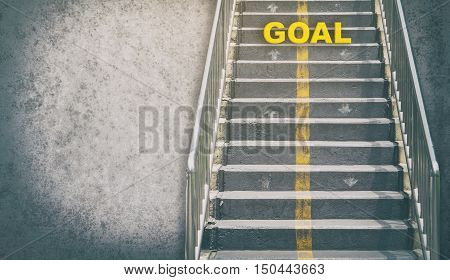 grungy stairway to GOAL business concept with copy space
