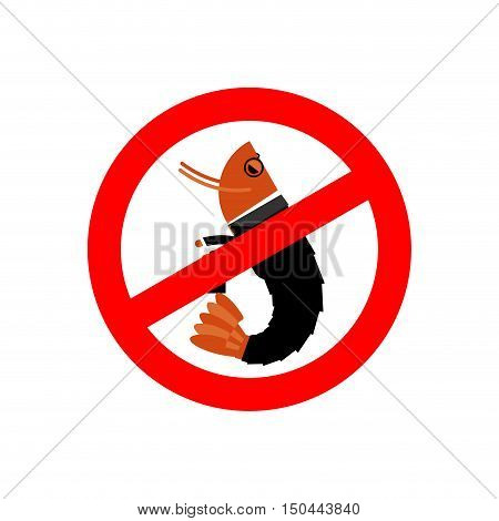 Stop office plankton. Prohibited shrimp in suit. Red prohibition sign. Crossed sea animal. Ban manager office clerk