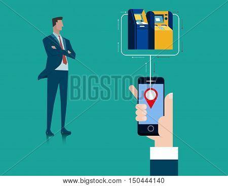 Concept fine closest teller cash machine via mobile application. Concept business illustration vector flat