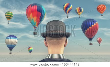 Man wearing a black hat and looking to hot air balloons flying through the sky. This is a 3d render illustration