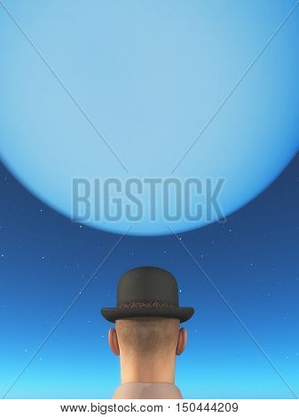 Man wearing a hat and looking to the moon. This is a 3d render illustration