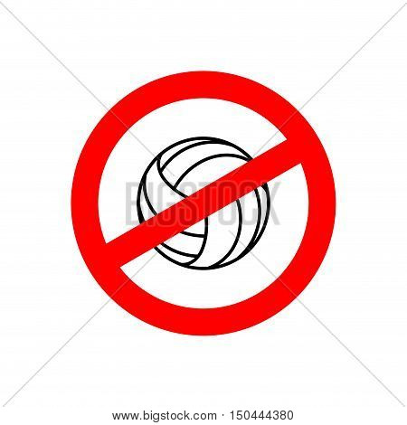 Stop Volleyball. Prohibited Team Game. Red Prohibition Sign. Crossed-gaming Ball. Ban Symbol