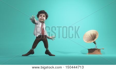 Old man dancing listening music from an old gramophone on a blue background. This is a 3d render illustration