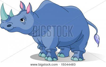 Cartoon funny  rhino isolated on white