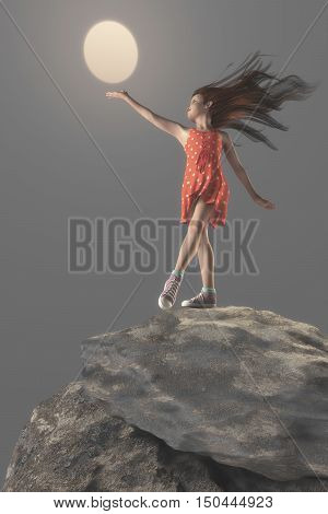 Teen girl standing on a cliff and trying to reach the sun. This is a 3d render illustration