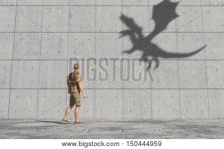 Man looks at the shadow of a dragon on the wall. This is a 3d render illustration