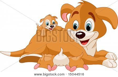 Illustration of mother dog nursing cute puppies