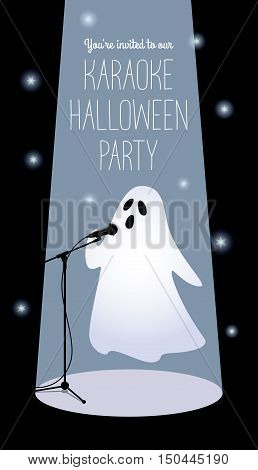 Invitation to karaoke Halloween party. Vector illustration of a cartoon ghost in a spotlight singing into a microphone. Long vertical format black background white text.
