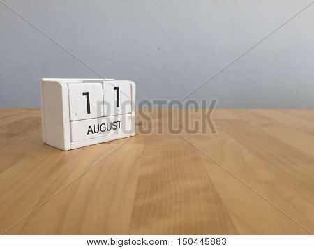 August 11Th.august 11 White Wooden Calendar On Wood Background.summer Day.copyspace For Text.