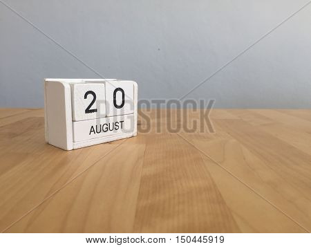 August 20Th.august 20 White Wooden Calendar On Wood Background.summer Day.copyspace For Text.
