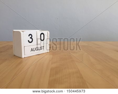 August 30Th.august 30 White Wooden Calendar On Wood Background.summer Day.copyspace For Text.