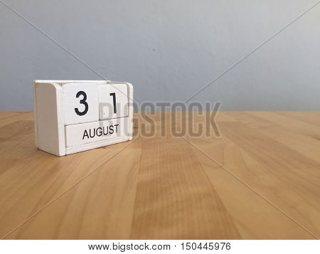 August 31St.august 30 White Wooden Calendar On Wood Background.summer Day.copyspace For Text.