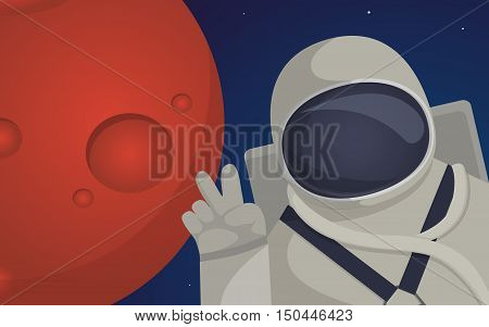 Illustration on theme of colonization of planet Mars mission