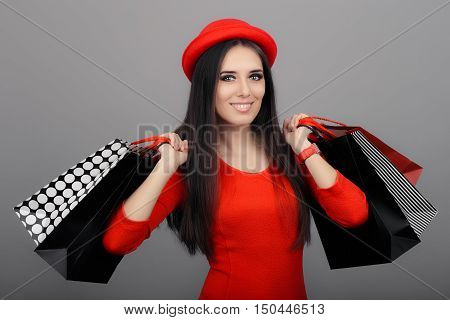 Happy Fashionable Woman Wearing Red Dress Holding Shopping Bags