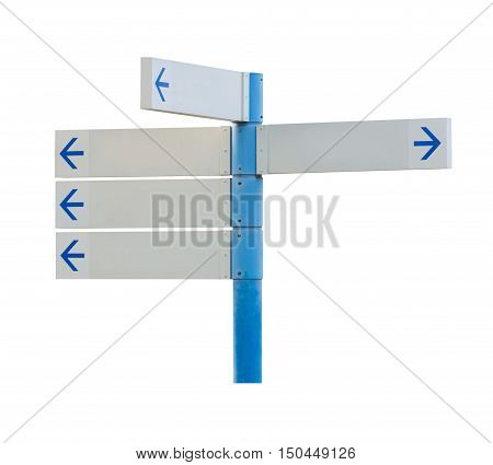 Blank direction white signpost isolated on white background. Object with clipping path.