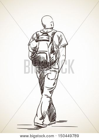 Sketch of man with backpack walking Hand drawn illustration