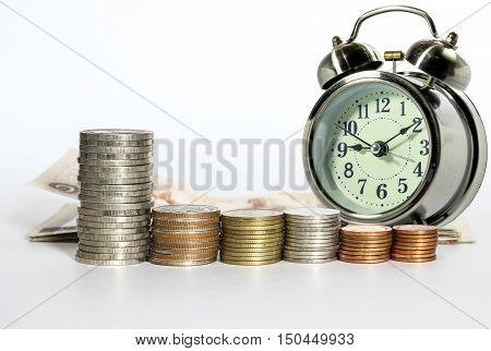 A row of Thailand's Baht and analog clock isolated on white background concept for business finances and saving money.