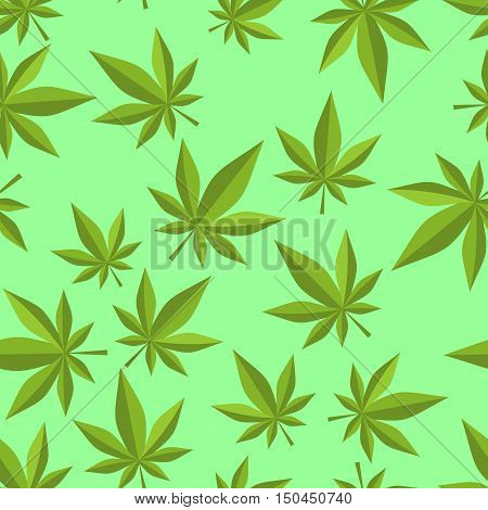 Cannabis Seamless Pattern. Marijuana Texture. Ganja Ornament. Narcotic Plants Background