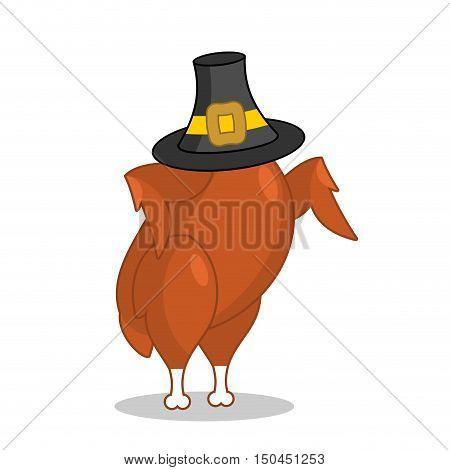 Roasted Turkey And Pilgrim Hat. Traditional Festive Fowl. Symbol Historic National Holiday. Illustra