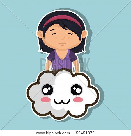 avatar girl smiling and kawaii cartoon cloud with smiling faces. colorful design. vector illustration
