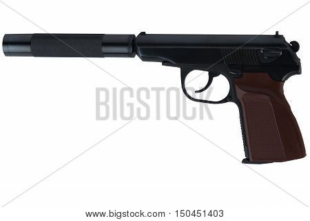 Battle handsome gun with a silencer, on a white background