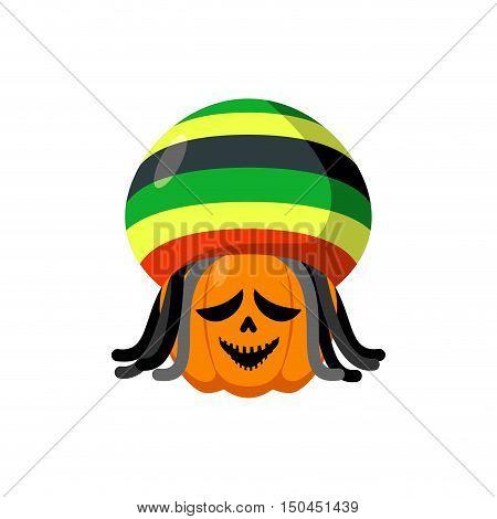 Rasta Halloween. Rastaman Hat And Dreadlocks. Pumpkin For Rastafarians. Symbol Terrible Holiday In J