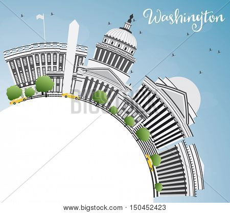 Washington DC Skyline with Gray Buildings and Copy Space. Vector Illustration. Business Travel and Tourism Concept with Historic Architecture. Image for Presentation Banner Placard and Web Site.