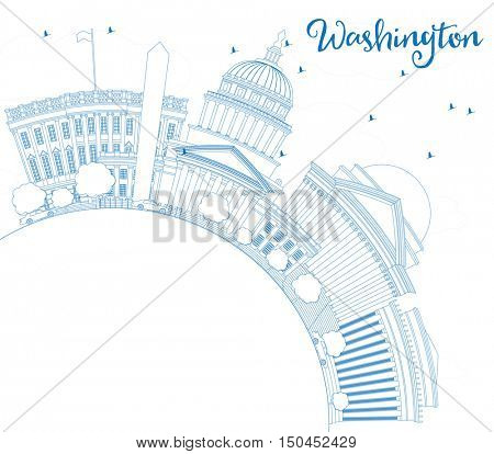 Outline Washington DC Skyline with Blue Buildings and Copy Space. Vector Illustration. Business Travel and Tourism Concept with Historic Architecture. Image for Presentation Banner Placard and Web.