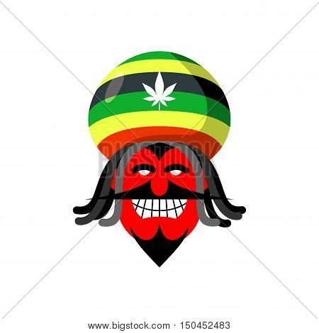 Rastaman Devil. Rasta Cap And Dreadlocks. Satan For Rastafarians. Red Devil In Beret. Jamaican Demon