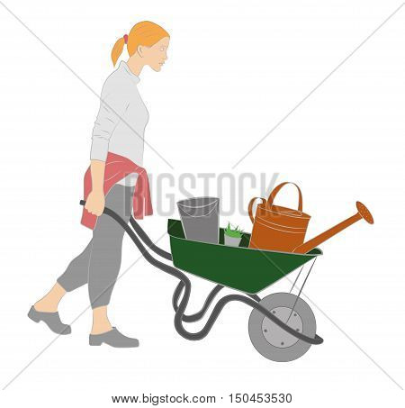 young woman pushing a wheelbarrow with garden tools isolated on white background. vector illustration