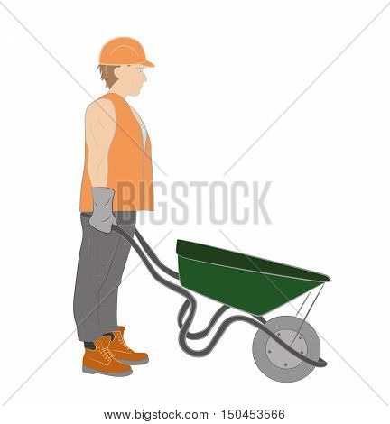 Builder (working) with a wheelbarrow vector illustration.
