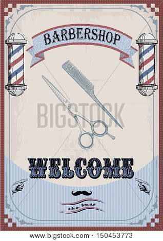 Frame border scissors and comb sign shingle for barber coiffeur haircutter vintage retro inscription barbershop. Vector vertical closeup front view beautiful old school signboard barber's salon