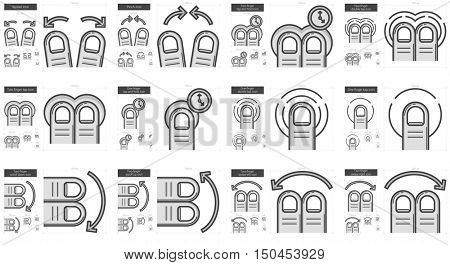Touch gestures vector line icon set isolated on white background. Touch gestures line icon set for infographic, website or app. Scalable icon designed on a grid system.