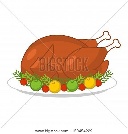Roast Turkey For Thanksgiving. Fowl On Plate. Roast Wildfowl With Apples And Cranberries. Traditiona