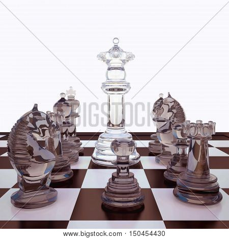 Chess board, Queen and her court. 3D illustration