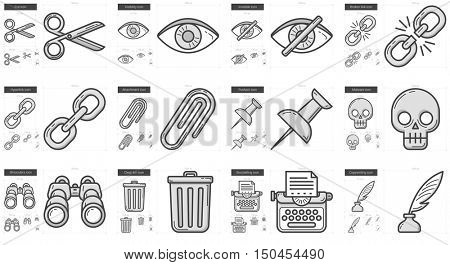 Content Edition vector line icon set isolated on white background. Content Edition line icon set for infographic, website or app. Scalable icon designed on a grid system.
